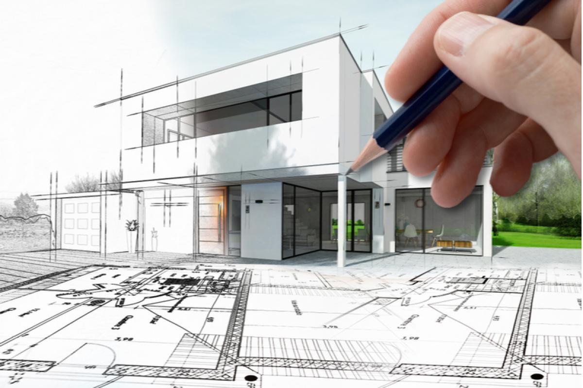 Maison moderne dessinée en 3D par une main tenant un crayon