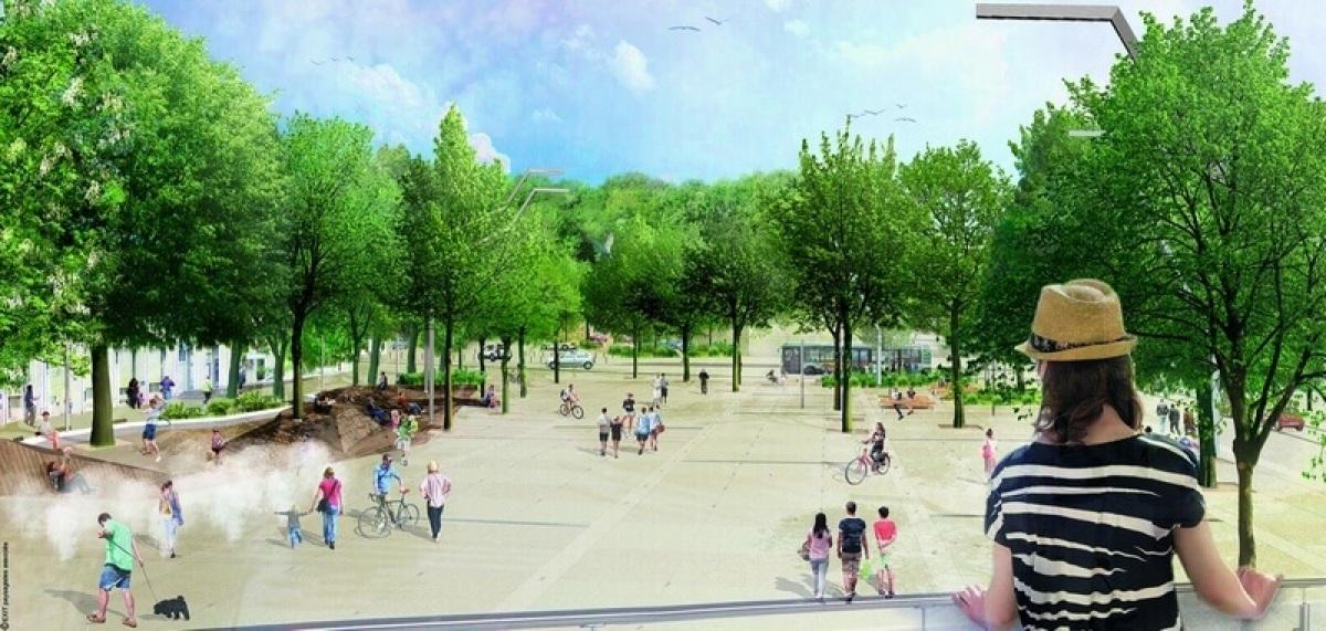 Image de synthèse montrant le visage du centre-ville de Saint-Médard-en-Jalles après le projet urbain Renaissance