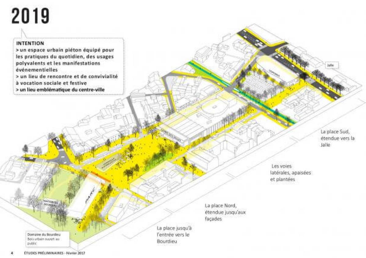 Croquis d'intention des aménagements place de la République à Saint-Médard-en-Jalles