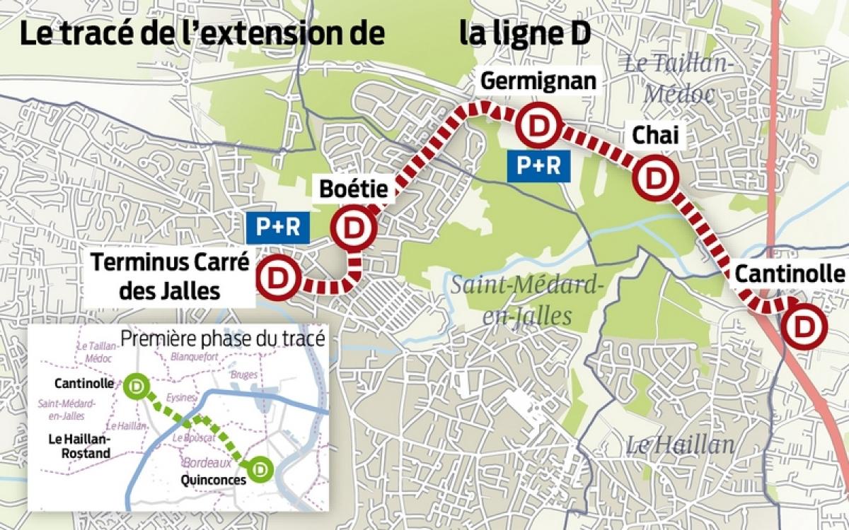 trace ligne D tramway bordeaux