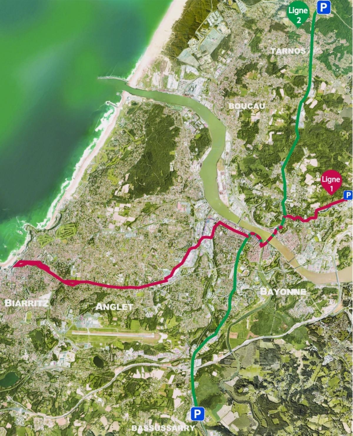Le tracé des deux lignes de Tram'bus de Bayonne-Anglet-Biarritz