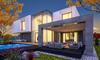 Vue 3D d'une maison neuve contemporaine avec jardin et piscine