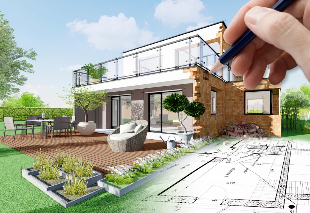 VEFA à Bordeaux–Illustration d'une maison végétalisé avec un DPE et des plans d'architecte