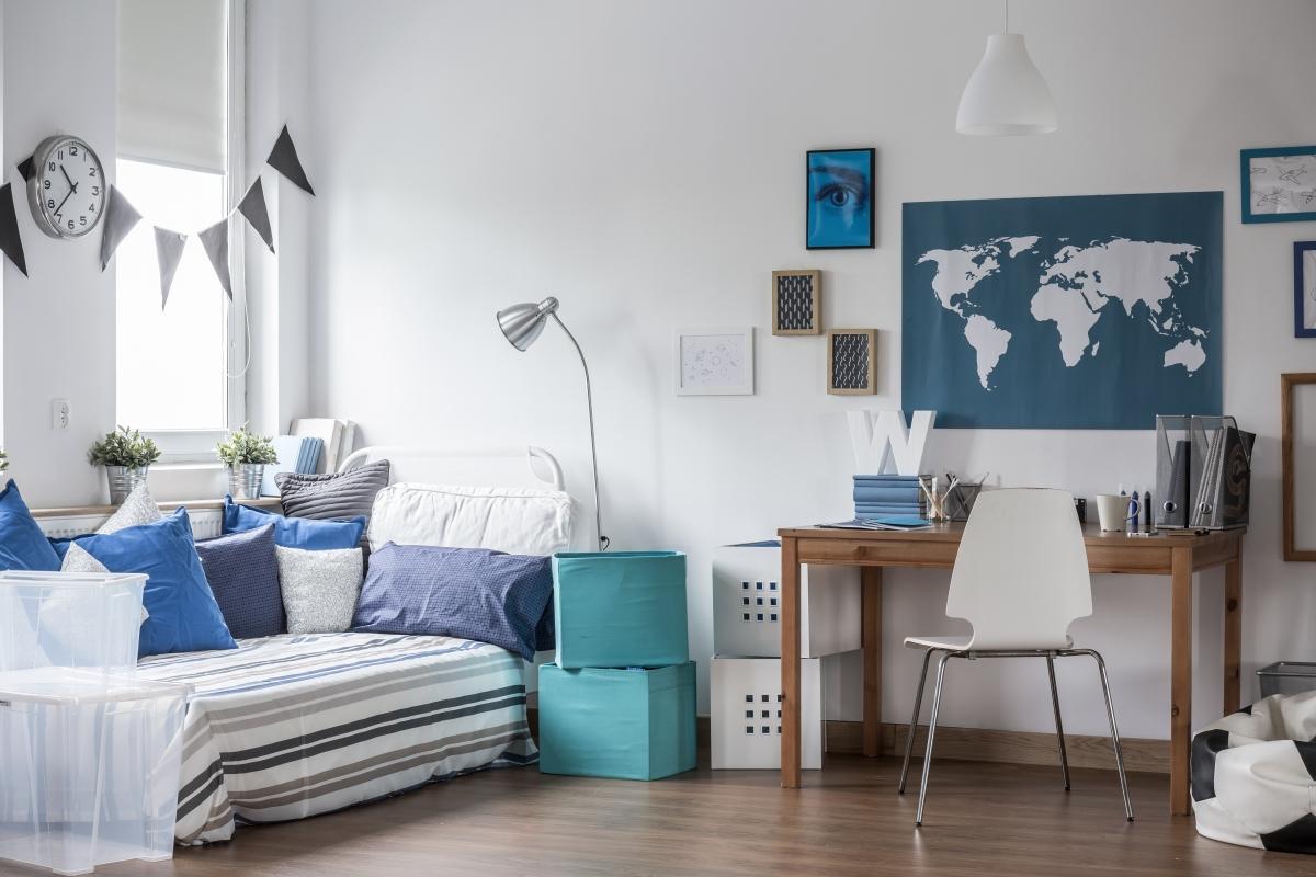location appartement neuf bordeaux - une chambre étudiante aménagée et décorée
