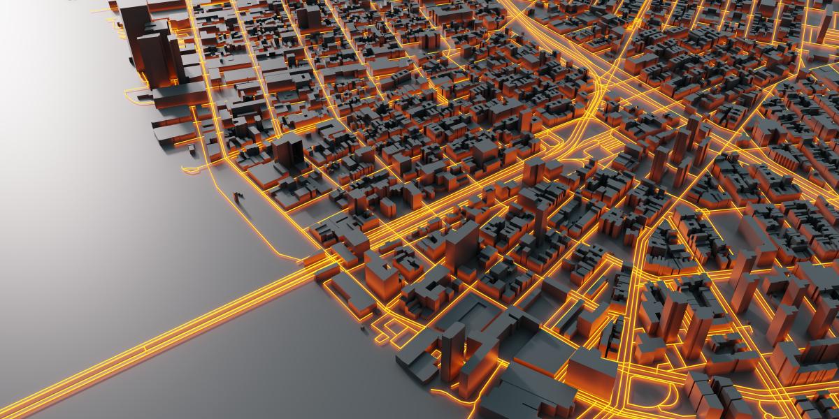 Valérie Lasek Bordaux Euratlantique – Projection 3D d'une ville futuriste avec des silhouetets de bâtiments modernes