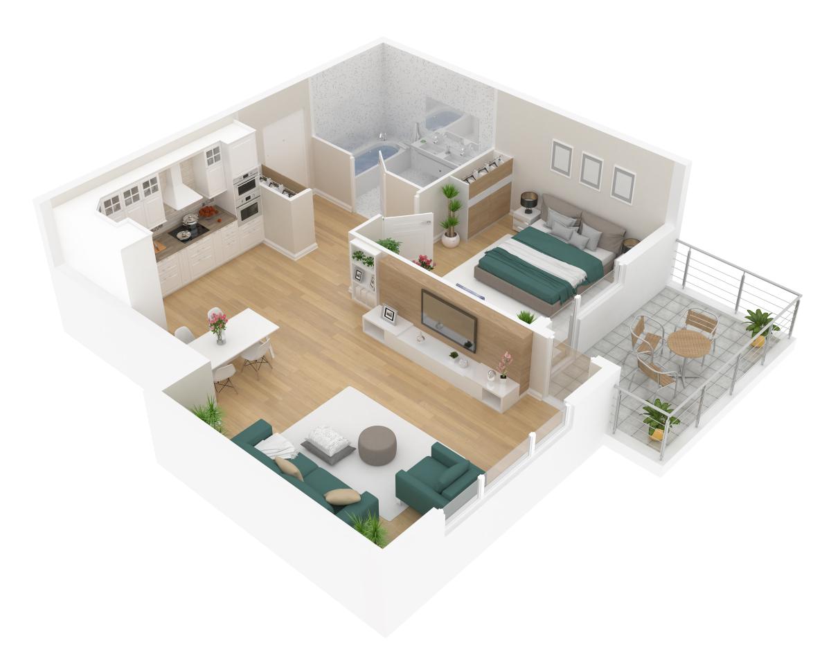 Maison modulable – Vue 3D d'un plan d'aménagement intérieur